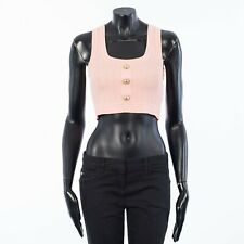 BALMAIN 595$ Pink Cropped Button-Embellished Ribbed Stretch-Knit Top