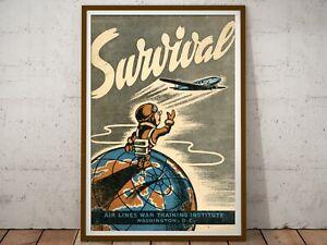 "1943 Survival Disaster Preparedness POSTER! (up to 24"" x 36"") - Vintage"