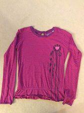 Animal Girls' purple and pink striped long sleeved peplum top size Medium