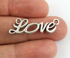 Silver tone LOVE word Connector - Pendant Necklace Jewellery Charms Crafts Cards