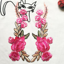 2X DIY Rose Flower Embroidered Patches Sew On Patch Applique For Jeans Pants