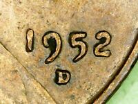 1952 D Lincoln Penny Uncirculated Denver Mint Wheat American Cent USA