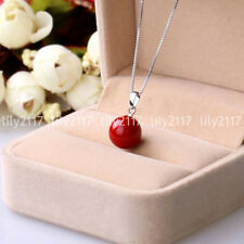 Fashion 14mm Genuine Coral Red South Sea Shell Pearl Pendant Necklace 17''