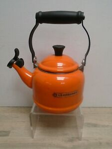 Vintage Le Creuset enamel Orange Whistling stove kettle 1.1 litre