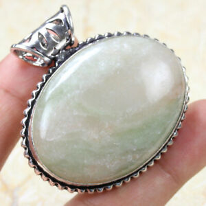 """Green & Pink Amazonite 925 Silver Plated Handmade Ethnic Pendant of 1.6"""" Gift"""
