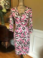 (z) DIANE VON FURSTENBERG JULIAN TWO  PINK BROWN wrap dress size 6 (DR100
