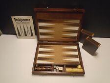 Drueke Magnetic Backgammon No. 108-2 Jet Set Traveler Walnut Finished Case