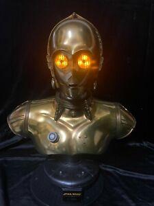 "SIDESHOW DISNEY LUCAS FILMS STAR WARS  ""C-3PO LIFE SIZE SCALE BUST STATUE FIGURE"