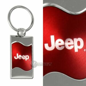 Jeep Logo Red Rectangular Authentic Chrome Key Fob Key ring Keychain Lanyard