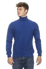 Maglia dolcevita nido d'ape maglione Conte of Florence misto lana Made Italy blu