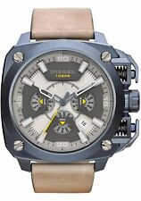 Men's Diesel Bamf Chronograph Leather Strap Watch DZ7342