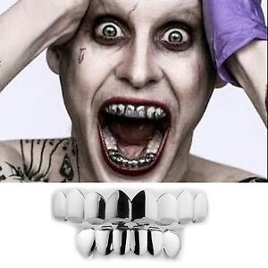 JOKER GRILLZ 8 Teeth Top Bottom Silver Fake Mouth Grills for Halloween Costume