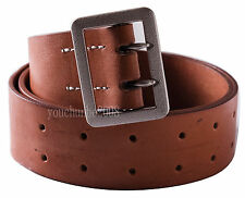 "WWII GERMAN OFFICER DOUBLE CLAW BROWN BELT HOLE SIZE L 38-43"" -35812"