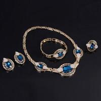 4PCS/Set Women Gold Plated Rhinestone Necklace Earrings Ring Bracelet Jewelry BT