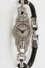 Antique 1920s $5000 1ct Baguette Round VS H Diamond Platinum Ladies Watch WARRTY