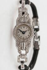 Antique 1920s $5000 1ct Baguette Round VS H Diamond Platinum Ladies Watch WARRTY