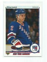 "BRIAN LEETCH (New York Rangers) 1990-91 UPPER DECK ""BASEBALL HOLO"" ERROR CARD"