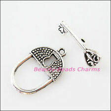 3Sets Tibetan Silver Lock Heart Key Circle Bracelet Toggle Clasps Connectors