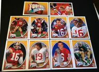 1991 UPPER DECK JOE MONTANA FOOTBALL HEROES SET w/ NNO HEADER (10 CARDS)(49'ERS)