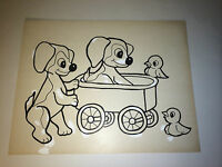 Vintage Children's Drawing Animal Art C.1950s! Published in Newspaper! Puppies!