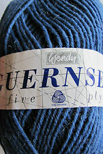 Wendy Pure new wool Guernsey 5 ply knitting yarn. Atlantic Blue