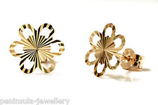 9ct Gold Daisy Stud Diamond Cut Earrings, Made in UK Gift Boxed