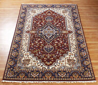 Handmade Indian Area Rugs Wool 5x8 Red Floral Traditional Hand Knotted Carpet
