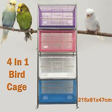 4 In 1 Large Metal Parrot Cockatiel Budgie Breeding Bird Cage Aviary 215x81x47