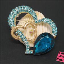 Cute Love Crystal Charm Brooch Pin Gift New Betsey Johnson Cute Blue Bling Heart