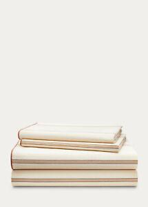 Ralph Lauren California King Sheet Set Allie Striped Cotton Cream/Flax MSRP $220