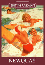 Newquay Vintage British Railways Poster (repro) - Seaside / Landmark A4