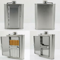 Portable Stainless Steel^  Flagon Hip Flask Portable with Cigarette case^