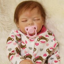 "22"" Soft Silicone Vinyl Handmade Newborn Baby Lifelike Reborn Girl Doll Gift"