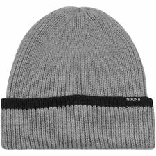 NIXON New Mens Headwear Knit Beanie Hat Grey
