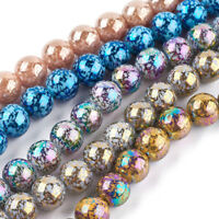 40pcs Unique Electroplate Lampwork Glass Beads Smooth Round Loose Beads 10mm DIA