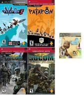 Lot of 5 PSP Games Patapon 1,3 Socom 1,2 & Little Big - NEW™