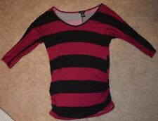 rue21 Women's Size Small Maroon and Black Striped 3/4 Sleeved Top