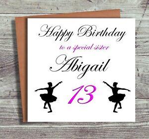 Personalised Ballet Dance Birthday Card Children's Card Daughter Granddaughter