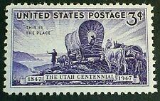 U.S. Scott 950- Utah Centennial, Pioneers and Wagon- MNH OG 3c 1947