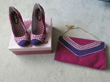 Women's Ruby Shoo Portia Heels & Matching Bag - Purple and Pink - UK Size 5