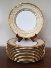 Royal Doulton RAISED GOLD ENAMEL ENCRUSTED FLORAL Dinner Plates ~ Set of 12