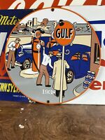 1938 VINTAGE STYLE ''GULF''  GAS & OIL PUMP PLATE 12 INCH PORCELAIN SIGN
