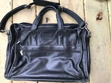 100% Auth. TUMI Black Leather Weekender Briefcase Laptop Shoulder Carryon Bag