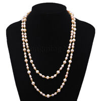 """LONG genuine 8-9mm purple Freshwater cultured natural Pearl necklace 35"""""""