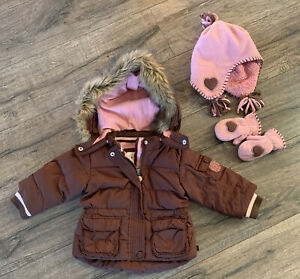 Baby Gap Girls 12-18 Months Winter Down Jacket Coat With Fleece Hat And Mittens