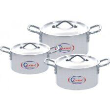 Klassic Fine Quality 3 Pc Aluminium Kitchen Ware Pans 18cm,20cm, & 22cm With Lid