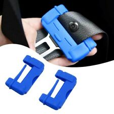 2pc Blue Car Safety Seat Belt Adjuster Buckle Anti-Scratch TPU Protective Case
