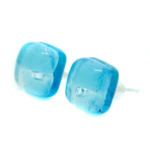 Murano Glass Stud Earrings Light Blue and Silver Square Handmade Venice