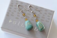 Silpada Sterling Silver Turquoise Golden Yellow Glass Bead Earrings W1290