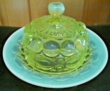 RARE Antique Vtg Mosser Green Opalescent Glass Wink Pattern Covered Butter Dish